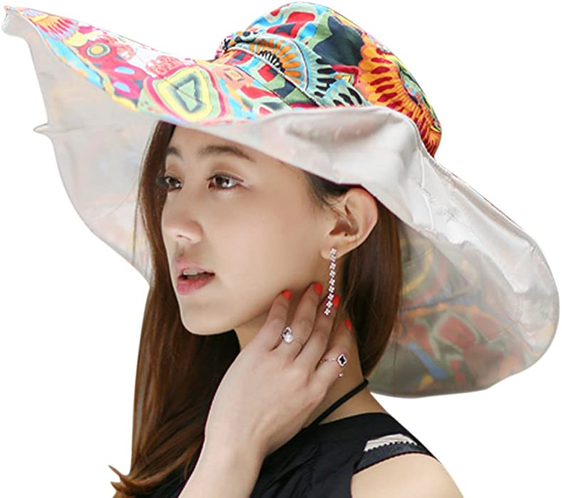 368e29d2eb2 Fakeface Women s Foldable Floppy Reversible Travel Beach Sun Visor Hat Wide  Brim UPF 50+