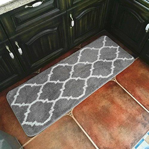 Hihome Floor Mats for Home Kitchen Entrance Rug Indoor Grey Doormat Bath mat (18×47