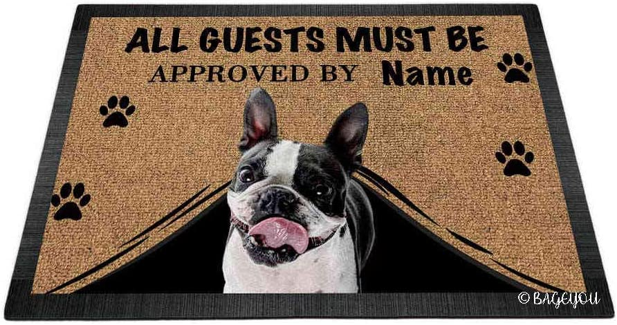 BAGEYOU All Guests Must be Approved Outdoor Doormat with My Love Dog Boston Terrier Welcome Floor Mat Custom Name 23.6
