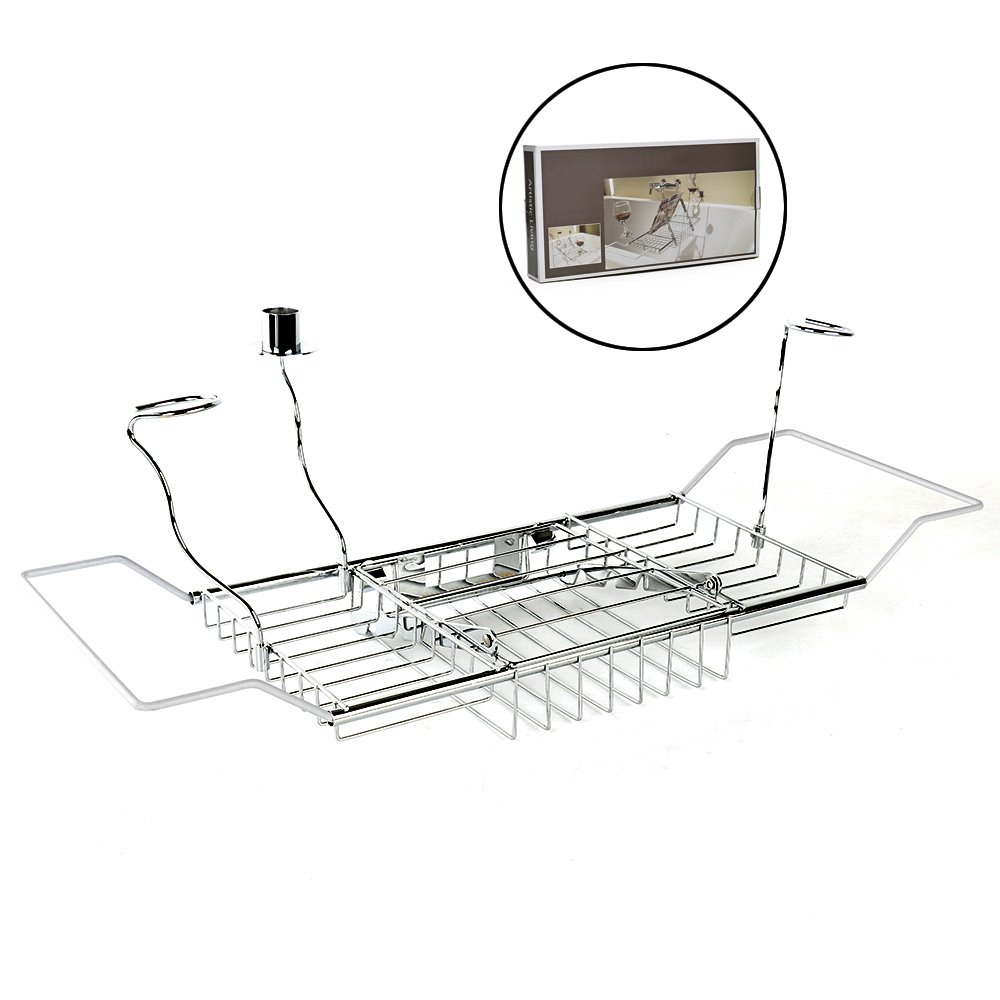 Bathtub Caddy Tray Stainless Steel Over Bath Tub Racks Shower Organizer with Extending Sides, Removable Candle Holder, Wine Glass Holder and Book Holder RTWAY