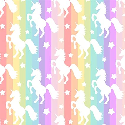 Ofila Unicorn Backdrop 5x5ft Rainbow Color Texture Unicorn Themed Baby Shower Girls Unicorn Birthday Party Children Room Wallpaper Cake Background