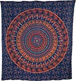 Luna Bazaar Kira Elephant Mandala Tapestry, Bohemian Wall Hanging and Bedspread (Large, 7 X 8 Feet, Blue and Orange, 100% Cotton, Fair Trade Certified)