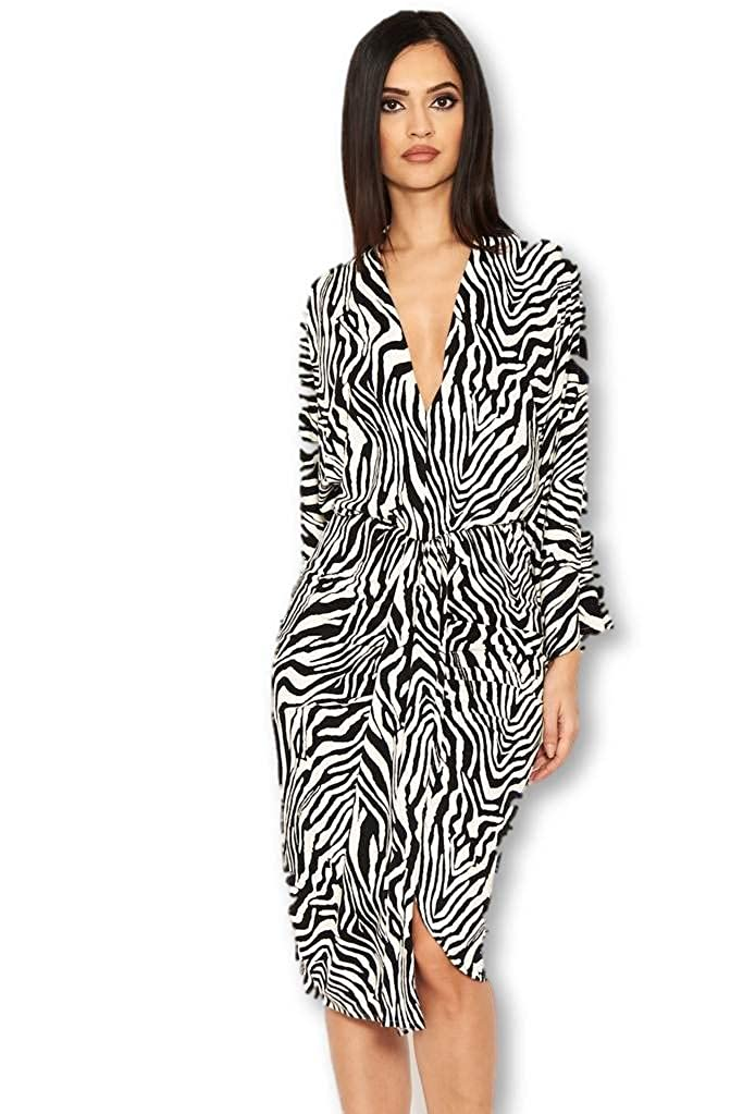 d66307a55eaf6 AX Paris Women's Zebra Print Wrap Dress at Amazon Women's Clothing store: