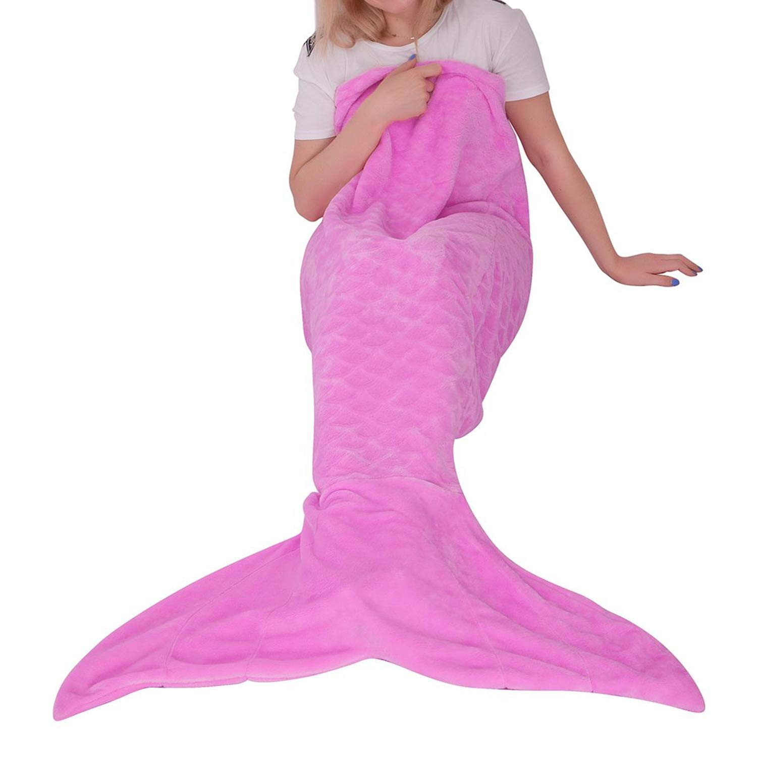 """Mermaid Tail Blanket for Kid Teen Adult,Plush Soft Flannel Fleece All Seasons Sleeping Bag with Twinkle Sequins Tail,Rainbow Ombre Glittering Fish Scale Snuggle Blanket,Best Gifts for Girls,25/""""/×60/"""" softan"""