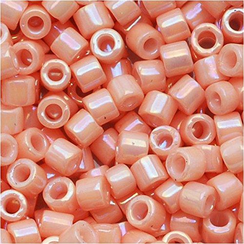 Miyuki Delica Seed Beads 10/0 Opaque Salmon AB Pink DBM0207 8 Grams