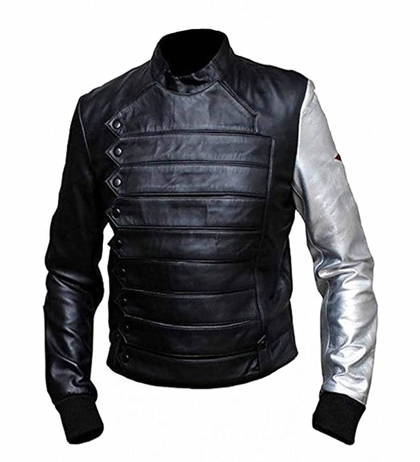 Adult Bucky Barnes Real Sheep Leather Silver Sleeve Jacket - DeluxeAdultCostumes.com