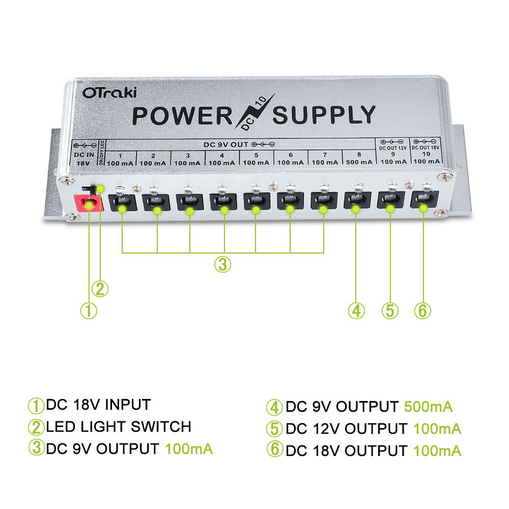 Amazon.com: OTraki 9V Power Supply for Guitar Pedals 10 Ports DC 18V/12V/9V  100mA/500mA 3Way Universal Isolated Effect Pedal Board Power Supplies with  Smart ...