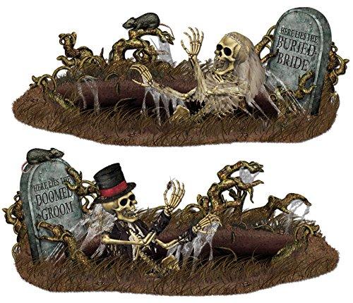 UHC Scary Doomed Groom & Buried Bride Skeleton Party Halloween Decoration (Skeleton Groom Halloween Costume)