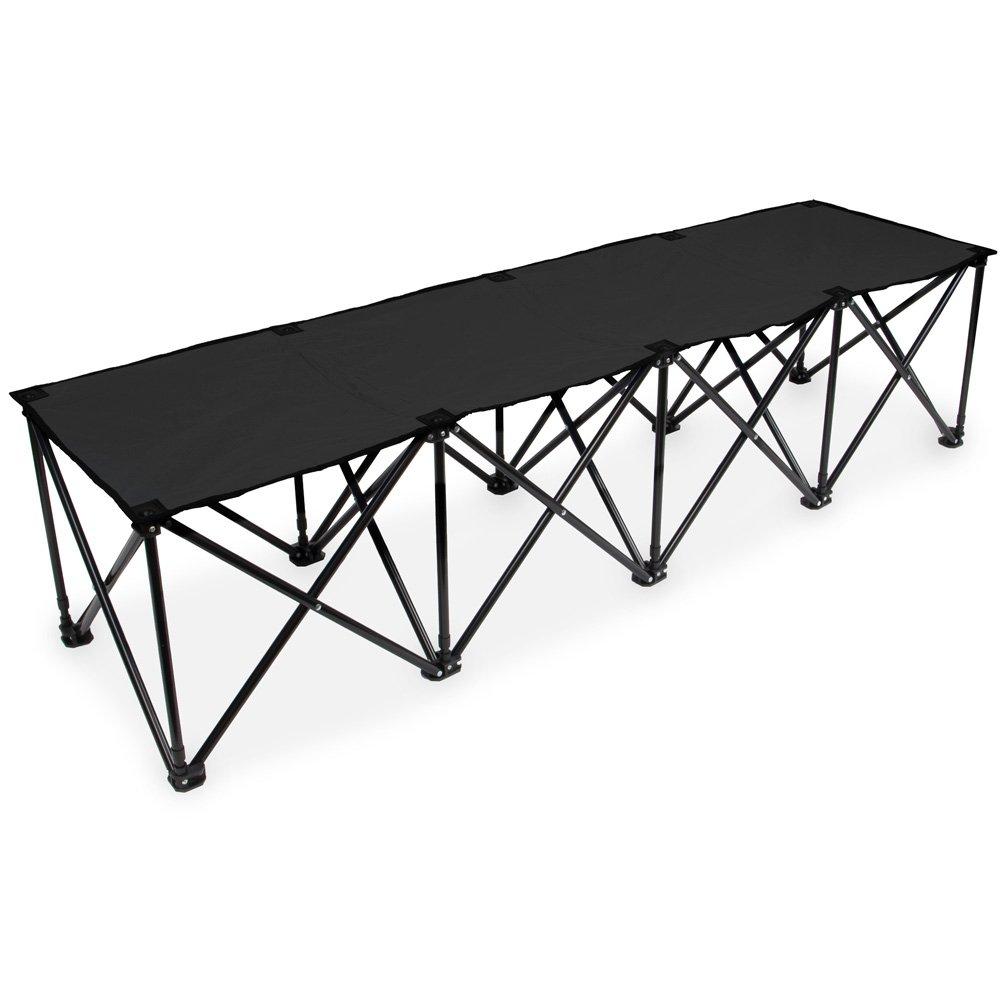 デラックスポータブル折りたたみ4シートベンチ – 6 ft Long 。 ブラック B071RCMX2D ブラック ブラック