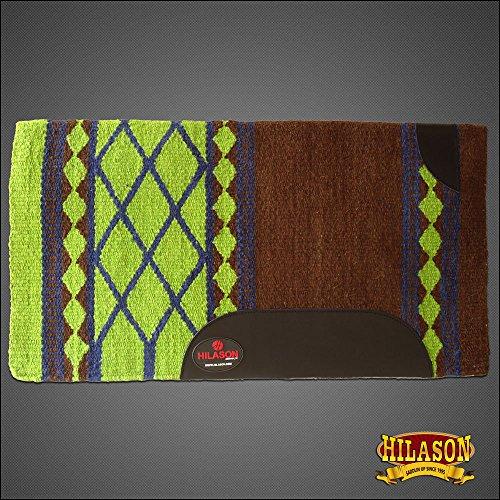 HILASON Western New Zealand Wool Horse Saddle Blanket Brown Lime Green