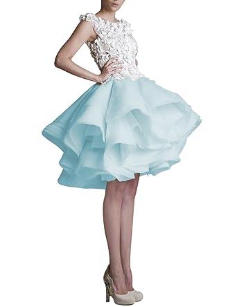 JoyVany Lace Short Wedding Dress Bridal Formal Prom Ball Gowns 2018 Blue Size 2