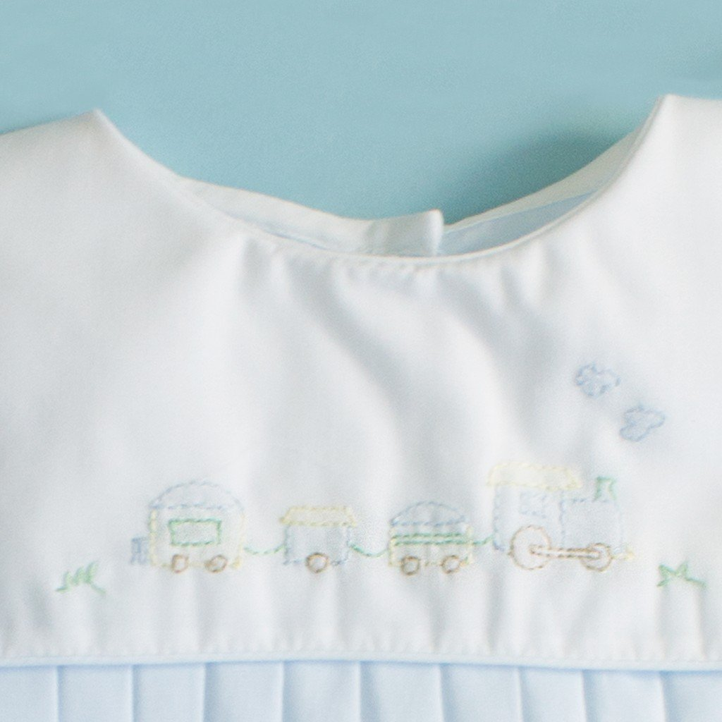 Petit Ami Baby Boys Square Collar Romper with Train Embroidery