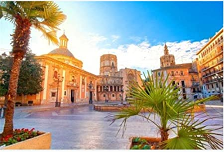Rompecabezas Rompecabezas De 1000 Piezas Arquitectura De La Plaza De La Virgen De Valencia España con Amanecer para Niños Adultos Festival Regalo: Amazon.es: Hogar