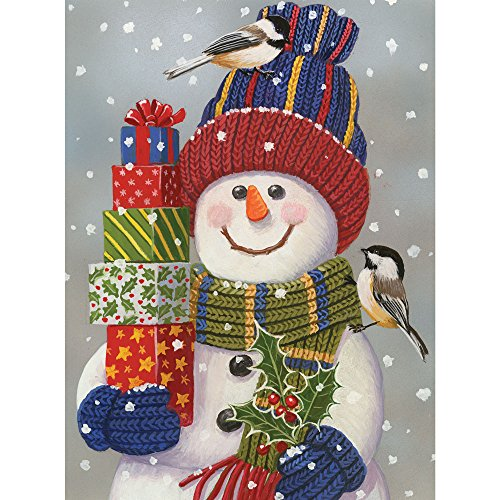 Bits and Pieces - 300 Large Piece Jigsaw Puzzle for Adults - Snowman with Presents - Snowman Christmas Puzzle - by Artist William Vanderdasson - 300 pc Jigsaw
