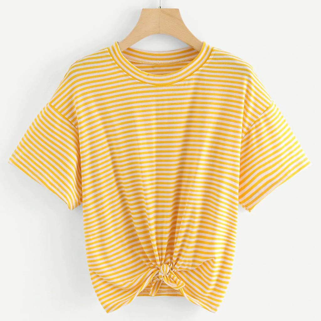 Camiseta de manga corta para mujer, diseño de rayas, con corbata ...