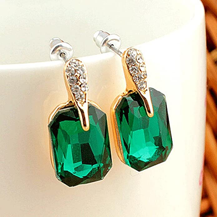 YAZILIND Green Emerald Cut Gold Plated Cubic Zirconia Stud Earrings for Women Wedding Party Gift k7TYg
