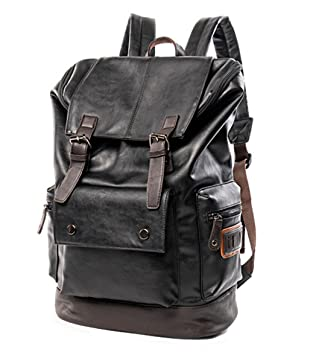 cb026c8a3 Amazon.com: Vintage PU Leather Backpack,School College Bookbag Laptop  Computer Backpack,Travel Backpack for Men Women YZ11: HC_HuaChen