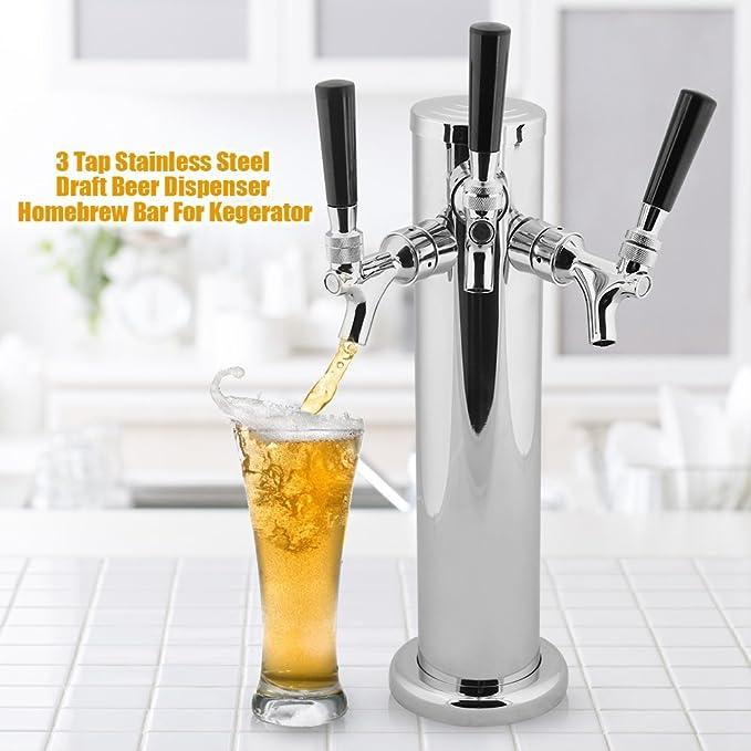 GOTOTOP Acero Inoxidable Triple Tap 3 Faucets Dispensador de Cerveza para Kegerator de Bar Casa Equipo de Elaborar Cerveza: Amazon.es