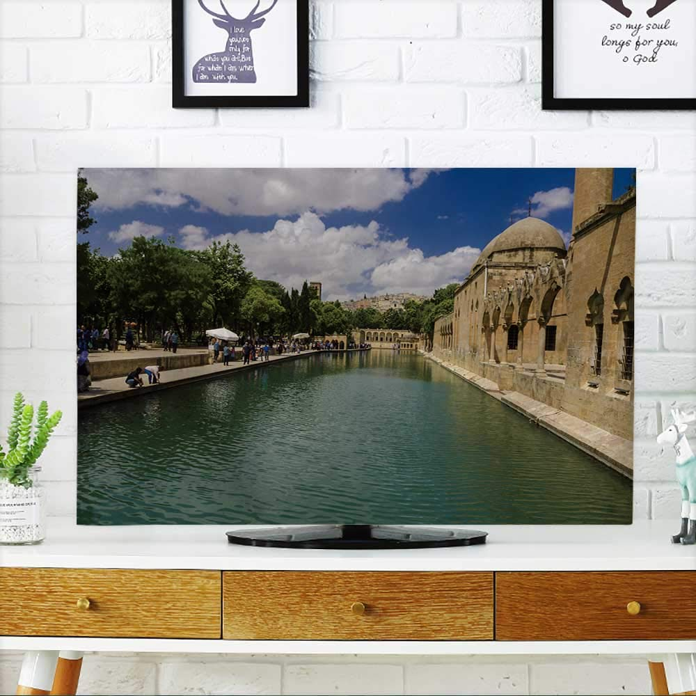 PRUNUS Cord Cover for Wall Mounted tv URFA,Turkey June,Holy Lake is a holy Travel Destination Fish Lake and Halil ur Rahman Mosque Cover Mounted tv W19 x H30 INCH/TV 32''