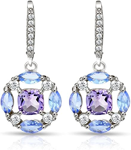 16x12 MM Pear Shape Amethyst Necklace in Sterling Silver with White Topaz Accents