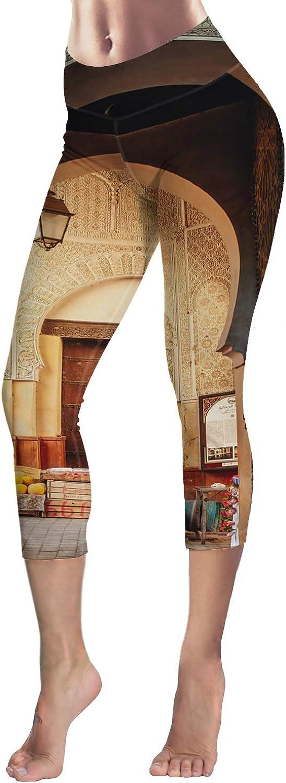 Printed Leggings for Women Sunflower Music Note Black and White Stripe 3//4 High Waist Yoga Pants Sport Gym Leggings Workout