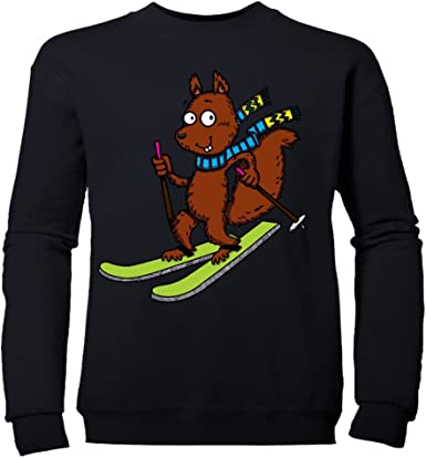 SKIING SQUIRREL MENS WINTER SKI SNOWBOARD SEASON PRINTED T-SHIRT