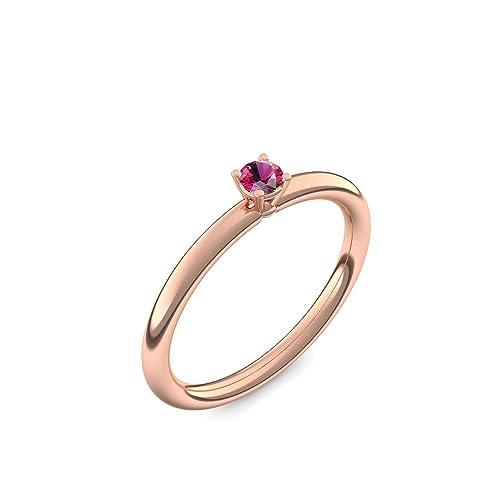 Rose anillo de oro Rubin plateado de alta calidad!