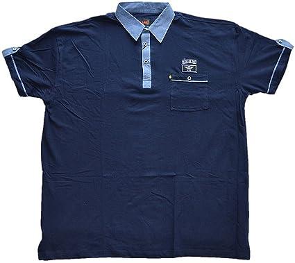KAMRO Übergrößen !!! Tolles Polo-Shirt Piqué Dunkelblau mit Brusttasche 5XL
