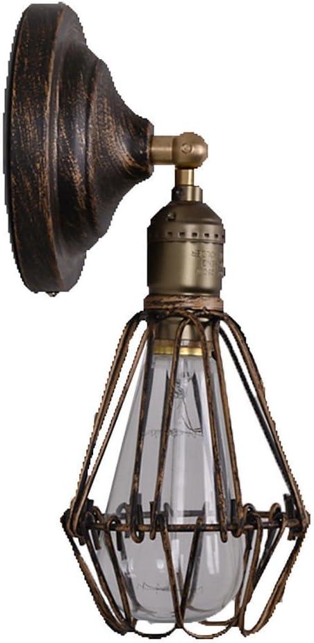 Lámpara de pared Anteojos industriales faros pantalla de hierro forjado pasillo pasillo escalera retro lámparas y faroles malla de hierro pequeño aplique de pared, color óxido