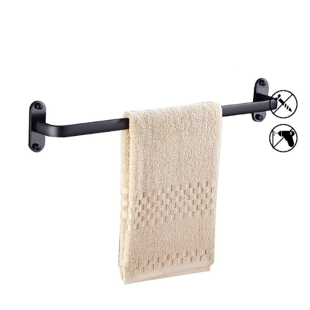 SPLY DTEM Punch-Free Space Aluminum Bathroom Pendant European Bathroom Shelf Black Tower Hanger (Size : Single bar)