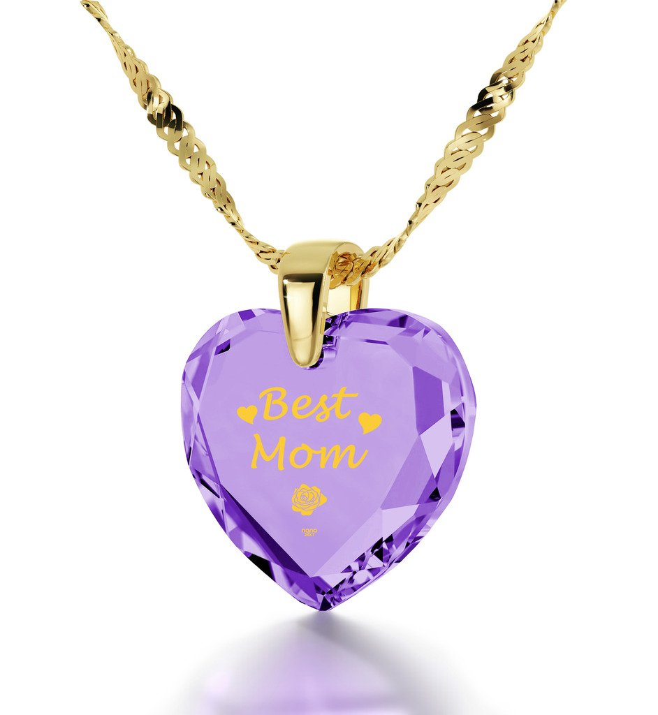 Gold Plated Best Mom Necklace - Heart Pendant Inscribed in 24k Gold on Light Purple Cubic Zirconia