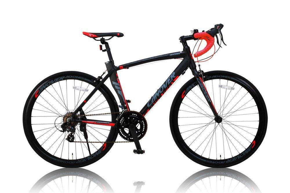 CANOVER(カノーバー) SHIMANO(シマノ) ロードバイク アルミフレーム 男女兼用(重量11.7kg 身長165cm以上 サイズ460mm) 14段変速 【シリコンライトチェーンリック(鍵)リアライト3点セット】 CAR-012 ADONIS(アドニス)レッド/ブラック B012V053PI