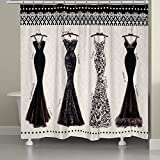 Elegant Fashion Dresses Patterned, Top Shower Curtain, Printed Geometric Shapes Exotic Floral Style, Bright Premium Home Adults Bathroom Decoration, Modern Stylish Design, White, Black, Size 71 x 72