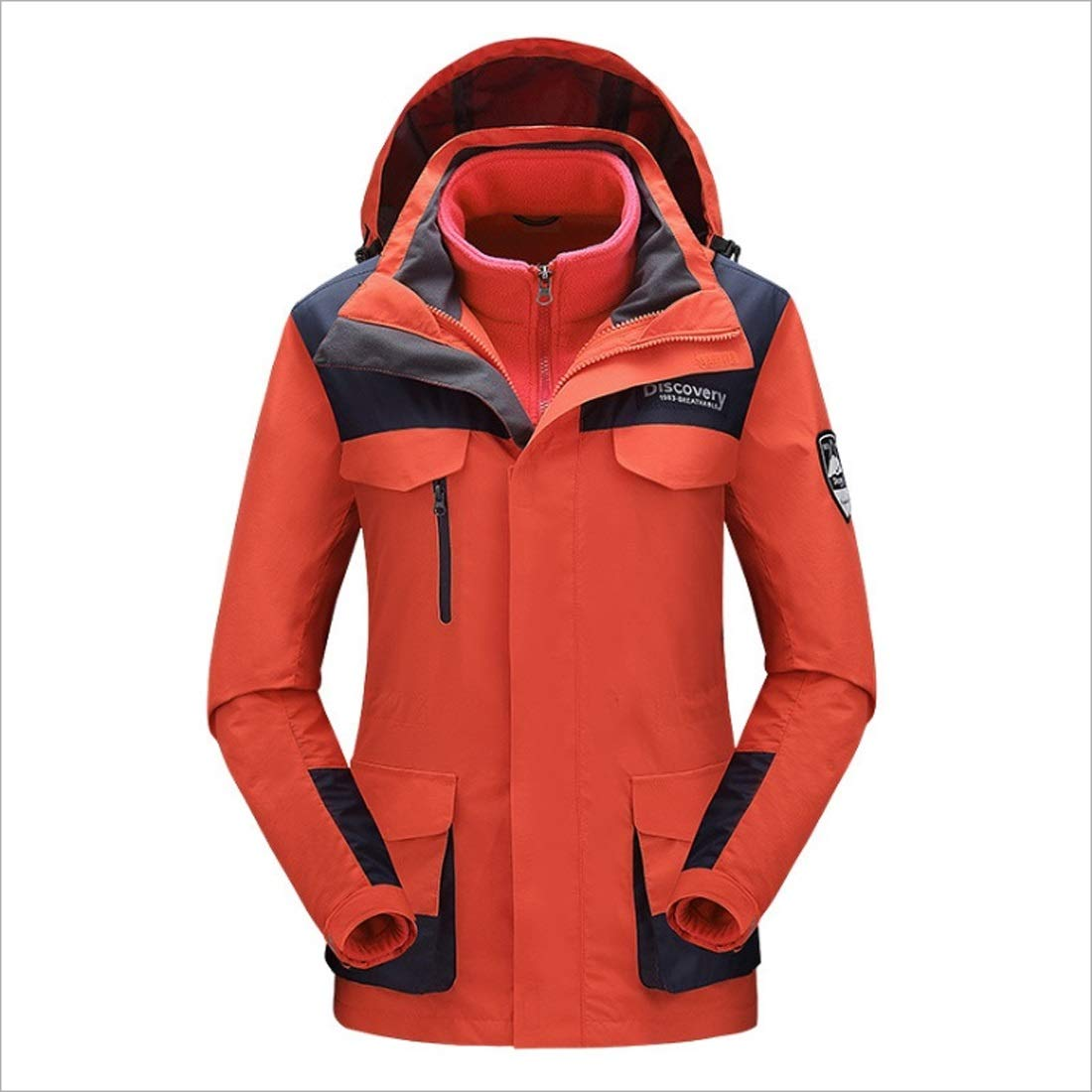 1 AUSWIEI Female Outdoor Jacket Threeinone Autumn and Winter Fashion Warm Mountaineering Suit Waterproof Breathable Slim Jacket (color   01, Size   L)