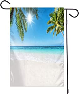 Monstero Tropical Garden Flag, Double Sided,Tropical Paradise Beach and Sun,Outdoor Decor for Homes and Gardens,Linen 12x18 inch