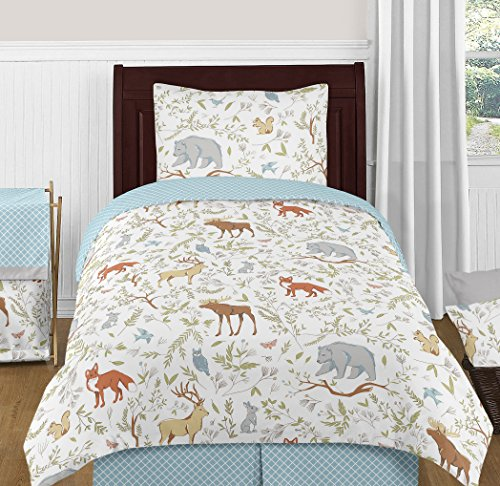 Sweet Jojo Designs Blue, Grey and White Woodland Deer Fox Bear Animal Toile 4 Piece Boy or Girl Kids Childrens Twin Bedding Set