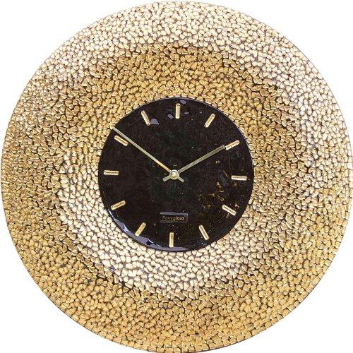 Art Glass with Gold Leaf Mosaic Wall Clock Golden Sun