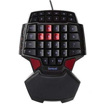 Con una sola mano 46-key teclado mecánico de gaming Wired ergonómico Gamepad con 3 colores LED luz de fondo para Windows PC por un lado wired Mini Gamepad: ...