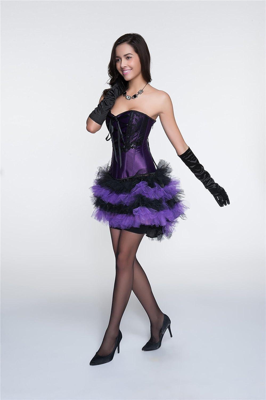 R-Dessous sexy Corsagenkleid Corsage + Tutu Rock Mini Kleid lila ...