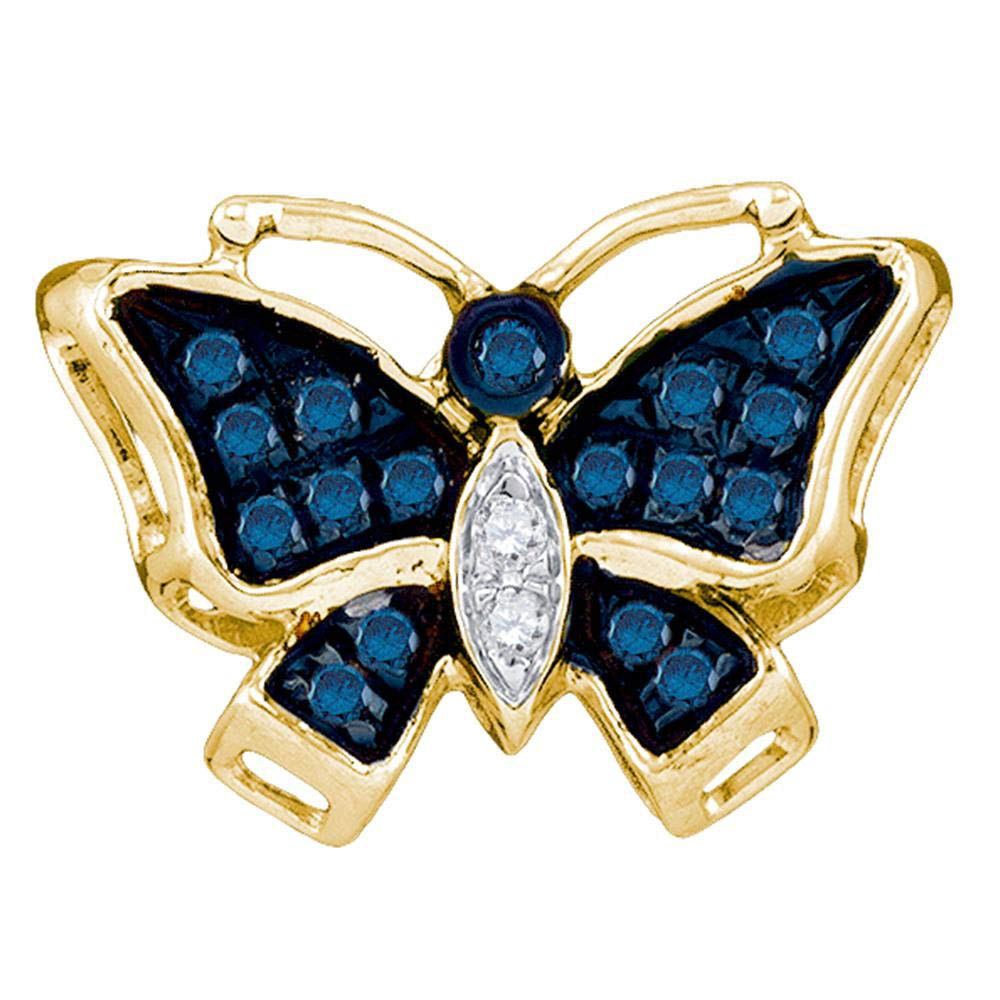 10kt Yellow gold Womens Round bluee color Enhanced Diamond Butterfly Bug Pendant 1 12 Cttw
