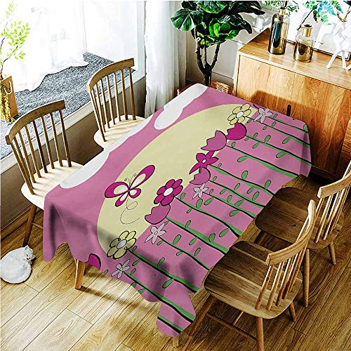 TT.HOME Elastic Tablecloth Rectangular,Tulip Illustration of Tall Body Spring Flower in The Field with Butterflies Sun Clouds,Resistant/Spill-Proof/Waterproof Table Cover,W50x80L,Pink Yellow