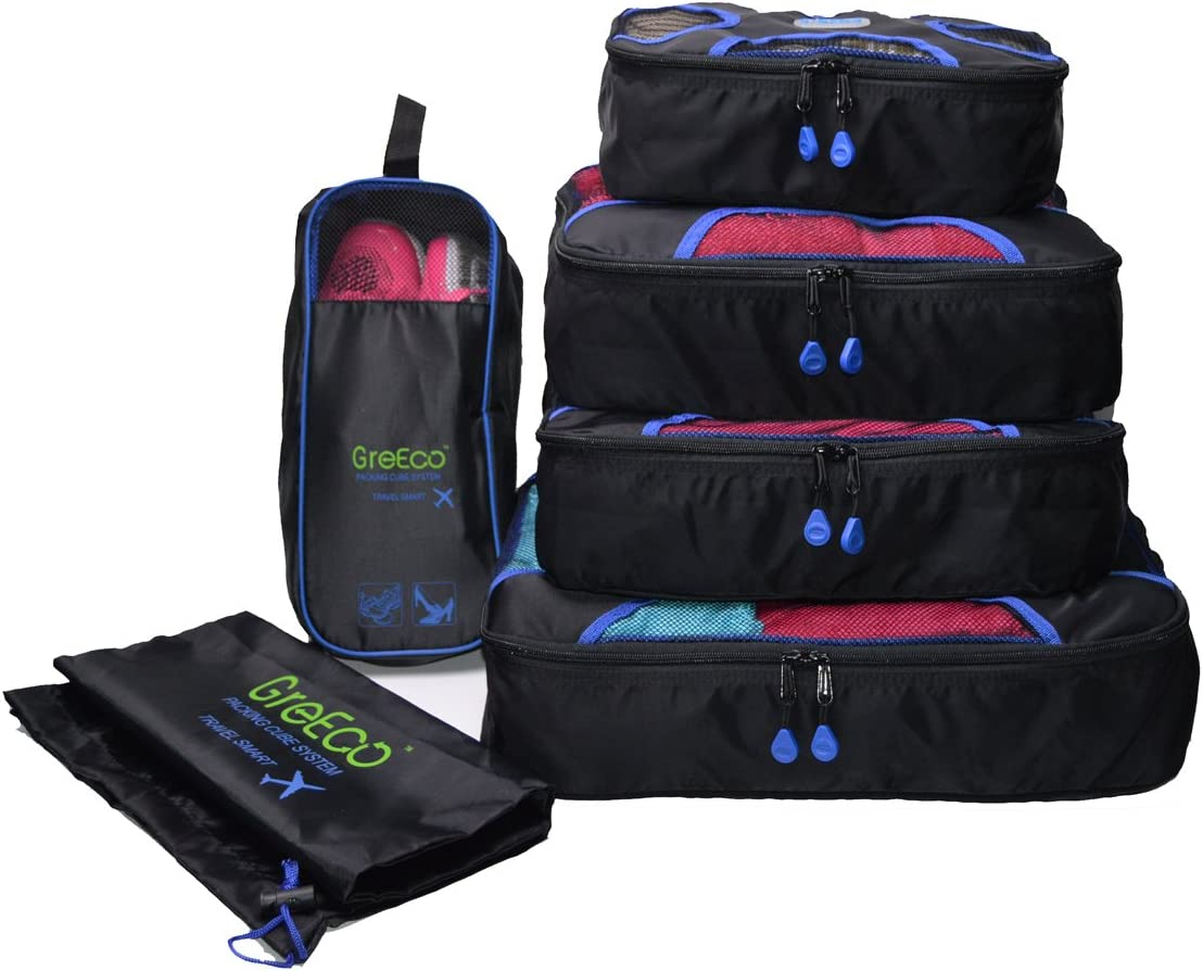 GreEco 4 Pcs Packing Cubes Plus 1 Pc Laundry Bag and 1 Pc Shoe Bag Set of 6 (Midnight Black)