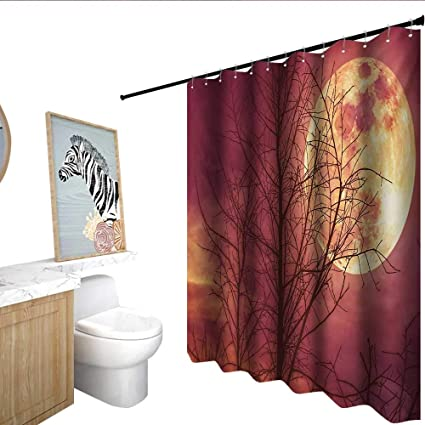 Homecoco Dark Red Shower Stall Curtains Night Sky Super Moon Behind Silhouette Of Dead Tree Serenity