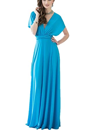 Clothink Women\'s Convertible Wrap Multi Way Party Long Maxi Dress at ...