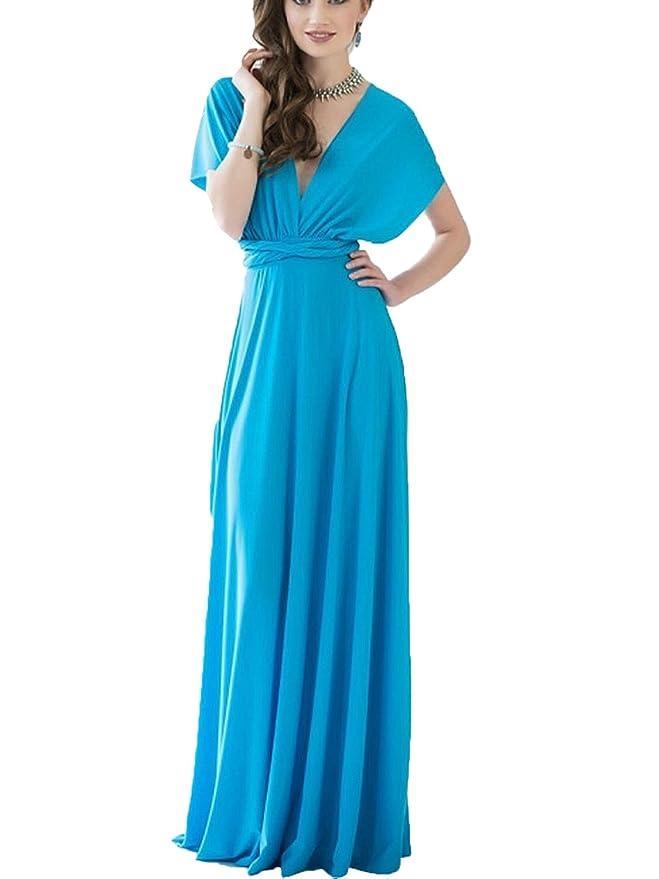 Clothink Women\'s Convertible Wrap Multi Way Party Long Maxi Dress