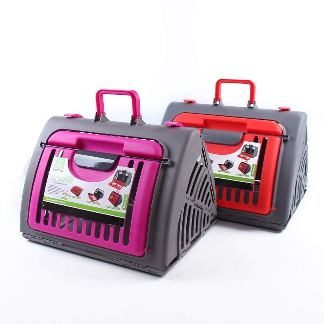 pink red yellow 46X23X35cm pink red yellow 46X23X35cm Kamiwwso Plastic Breathable Cat And Dog Travel Bags Large Capacity Handbag Pet Supplies Pet Bags (color   pink red yellow, Size   46X23X35cm)