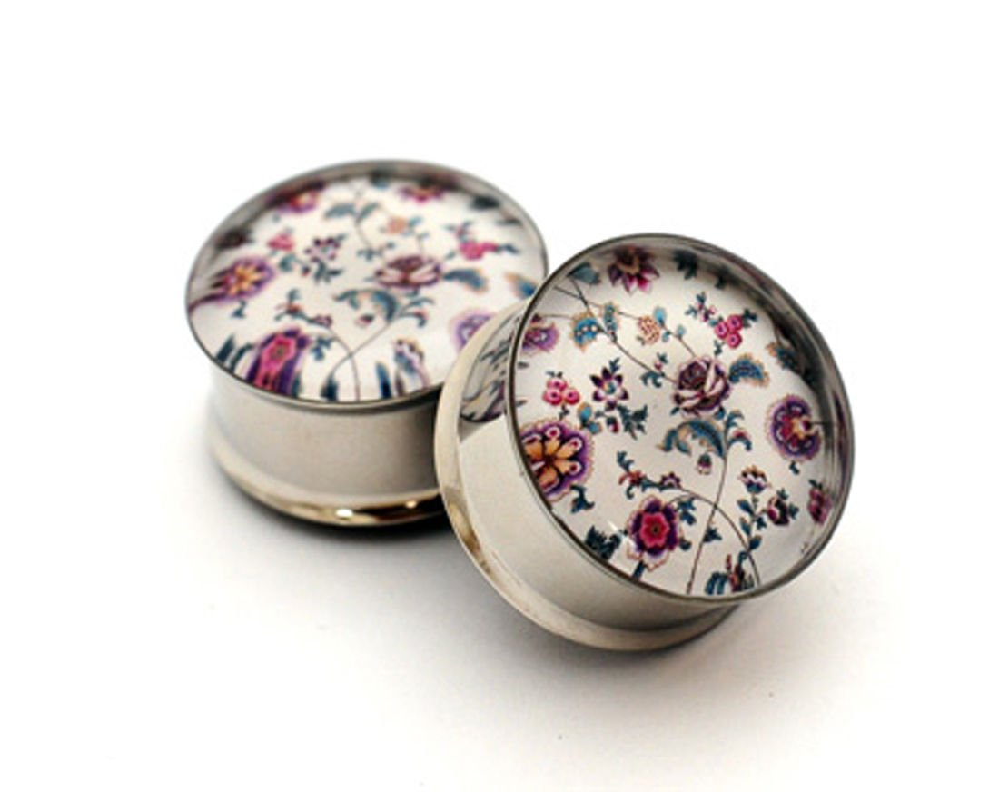 1 1//8-28mm Pair of Vintage Floral Picture Plugs
