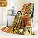 YOYI-HOME Original Luxury Duplex Printed Blanket, Hypoallergenic,Safari Animals Pattern Silhouette Exotic Fauna Frame Vintage Design Brown Black Perfect for Couch or Bed/W47 x H79