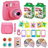 Photo : Fujifilm instax mini 9 instant Camera Flamingo Pink + 20 Instant Film Pack, Instax Case + Instax Accessories Bundle, Kit Includes , Albums, Selfie Lens, 4 Color Lenses, Magnets Frames, by Shutter