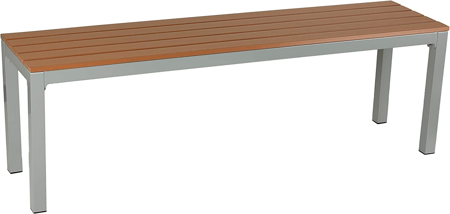 Cortesi Home CH-DB700111 Kamdyn arge Aluminum Outdoor Bench in Resin Wood, 55 , Silver Teak
